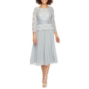 Jackie Jon 3/4 Sleeve Embellished Fit Flare Dress